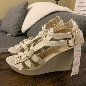 Express white wedge sandals